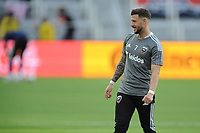 WASHINGTON, DC - MAY 13: Paul Arriola #7 of D.C. United warming up during a game between Chicago Fire FC and D.C. United at Audi FIeld on May 13, 2021 in Washington, DC.