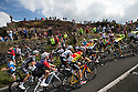 11/09/15<br /> <br /> Some seven miles behind the leaders, the peloton, makes its way up Millstone Edge, the first big climb of the day near Hathersage in the Derbyshire Peak District, on the 6th stage of Tour of Britain which today sees riders take on a 192 mile route from Stoke-on-Trent to Nottingham.<br /> <br /> All Rights Reserved: F Stop Press Ltd. +44(0)1335 418365   www.fstoppress.com.