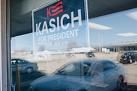 The campaign of Republican presidential candidate John Kasich set up their state operations in the campaign headquarters of Mayor Scott Avedisian in Warwick, Rhode Island, USA, seen here on Sun., Apr. 24, 2016. The Cruz and Trump campaigns also opened their state offices in the strip mall.