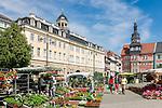 Germany; Free State of Thuringia, Eisenach: market square with Thuringia Museum - City Palace and city hall | Deutschland, Thueringen, Eisenach: Marktplatz mit Thueringer Museum - Stadtschloss und Rathaus