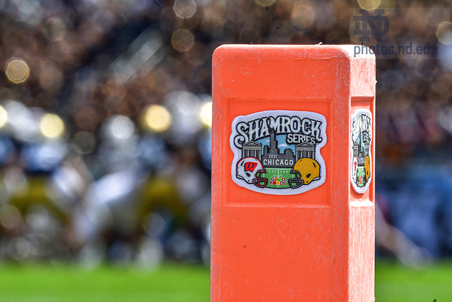 September 25, 2021; Logo of the Shamrock Series game at Soldier Field in Chicago. (photo by Matt Cashore)