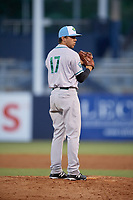 Daytona Tortugas relief pitcher Jesse Adams (17) gets ready to deliver a pitch during a game against the Tampa Tarpons on April 18, 2018 at George M. Steinbrenner Field in Tampa, Florida.  Tampa defeated Daytona 12-0.  (Mike Janes/Four Seam Images)