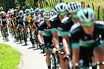 The peleton including race leader Gianni Moscon (ITA) Team Sky in action during Stage 5 of the 2018 Criterium du Dauphine 2018 running 130km from Grenoble to Valmorel, France. 8th June 2018.<br /> Picture: ASO/Alex Broadway | Cyclefile<br /> <br /> <br /> All photos usage must carry mandatory copyright credit (© Cyclefile | ASO/Alex Broadway)