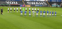 20th March 2021; Liberty Stadium, Swansea, Glamorgan, Wales; English Football League Championship Football, Swansea City versus Cardiff City; Swansea City and Cardiff City players observe a minutes silence in remembrance of those who have passed away during the Covid-19 Pandemic