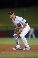 Mesa Solar Sox first baseman Jason Vosler (22), of the Chicago Cubs organization, during a game against the Glendale Desert Dogs on October 16, 2017 at Sloan Park in Mesa, Arizona. The Desert Dogs defeated the Solar Sox 2-0.  (Zachary Lucy/Four Seam Images)
