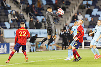 SAINT PAUL, MN - APRIL 24: David Ochoa #1 of Real Salt Lake catches the ball during a game between Real Salt Lake and Minnesota United FC at Allianz Field on April 24, 2021 in Saint Paul, Minnesota.