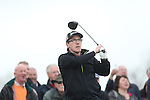 Celebrity Golf @ Golf Live.Rob Brydon drives at the first hole..Celtic Manor Resort.10.05.13.©Steve Pope