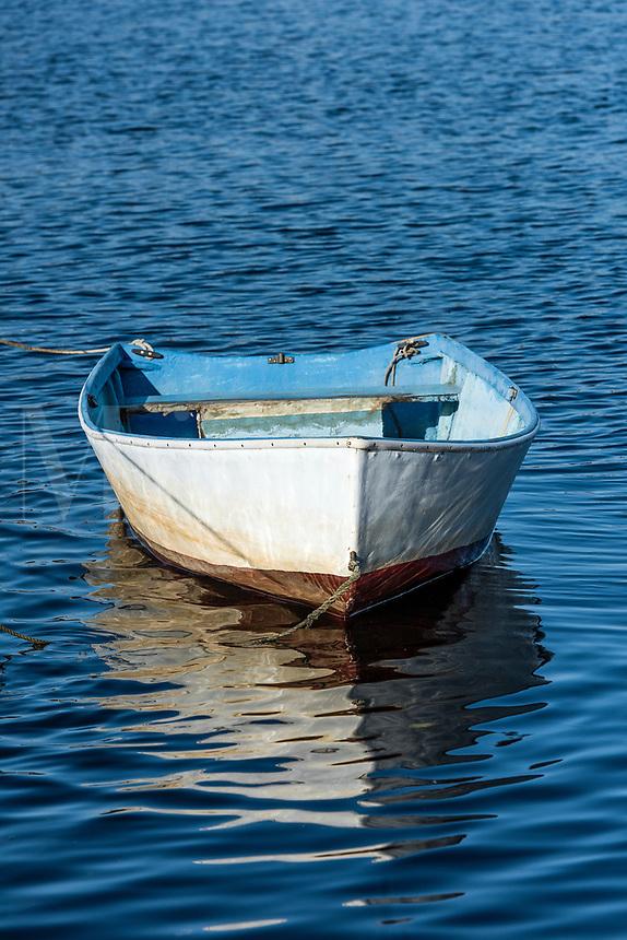 Rowboat tethered at Rodman Crossing, Narragansett, Rhode Island, USA.