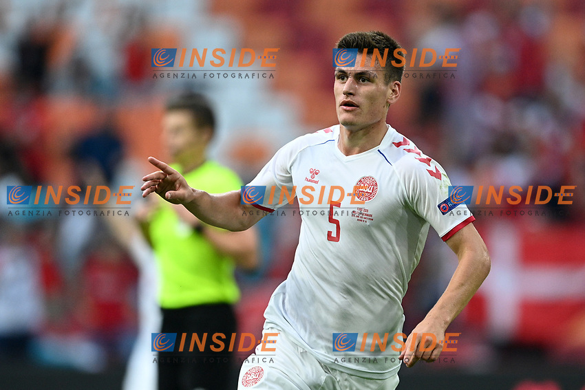 AMSTERDAM, NETHERLANDS - JUNE 26: Joakim Maehle of Denmark celebrates after scoring their side's third goal during the UEFA Euro 2020 Championship Round of 16 match between Wales and Denmark at Johan Cruijff Arena on June 26, 2021 in Amsterdam, Netherlands. (Photo by Lukas Schulze - UEFA/UEFA via Getty Images)<br /> Photo Uefa/Insidefoto ITA ONLY