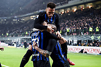 Danilo D'Ambrosio of Internazionale celebrates with Radja Nainggolan and Lautaro Martinez after scoring the goal of 1-0 <br /> Milano 17-2-2019 Stadio Giuseppe Meazza in San Siro Football Serie A 2018/2019 FC Internazionale  - UC Sampdoria Foto Image Sport / Insidefoto