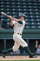Left fielder Cam Gibson (30) of the Michigan State Spartans bats in a game against the Harvard Crimson on Saturday, March 15, 2014, at Fluor Field at the West End in Greenville, South Carolina. Michigan State won, 4-0. (Tom Priddy/Four Seam Images)