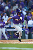 Giovanni DiGiacomo (7) of the LSU Tigers hustles down the first base line against the Baylor Bears in game five of the 2020 Shriners Hospitals for Children College Classic at Minute Maid Park on February 28, 2020 in Houston, Texas. The Bears defeated the Tigers 6-4. (Brian Westerholt/Four Seam Images)