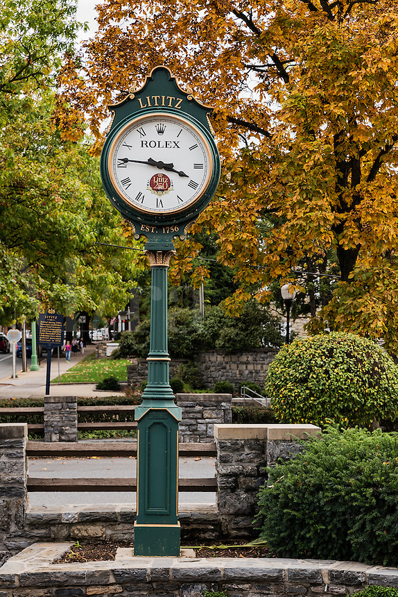 Town clock, Lititz, Pennsylvania, USA