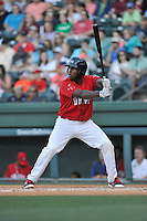 First baseman Josh Ockimey (18) of the Greenville Drive bats in a game against the Columbia Fireflies on Saturday, April 23, 2016, at Fluor Field at the West End in Greenville, South Carolina. Columbia won, 7-3. (Tom Priddy/Four Seam Images)