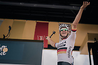 German National Champion Marcus Burghardt (DEU/BORA-hansgrohe) playing with the crowd from the sign-on podium (to be featured in his GoPro-movie)<br /> <br /> 104th Tour de France 2017<br /> Stage 3 - Verviers › Longwy (202km)