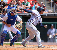 Columbus Clippers outfielder Ezequiel Carrera #7 bats in front of catcher Josh Thole during a game against the Buffalo Bisons at Coca-Cola Field on May 31, 2012 in Buffalo, New York.  Columbus defeated Buffalo 3-0.  (Mike Janes/Four Seam Images)