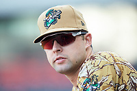 Down East Wood Ducks pitcher Walker Weickel (36) watches the action from the dugout during the game against the Winston-Salem Dash at BB&T Ballpark on May 12, 2018 in Winston-Salem, North Carolina. The Wood Ducks defeated the Dash 7-5. (Brian Westerholt/Four Seam Images)