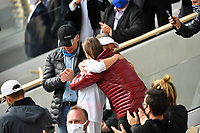 10th October 2020, Roland Garros, Paris, France; French Open tennis, Ladies singles final 2020; Iga Swiatek celebrates with trophy after winning the match with her family