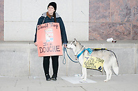 """A woman poses for a picture wearing a sign reading """"Donald Trump is a douche"""" while leading a dog with a sign reading, """"Hey Trump, I'll give you a Golden Shower,"""" as people gather in the National Mall area of Washington, DC, for the Women's March on Washington protest and demonstration in opposition to newly inaugurated President Donald Trump on Jan. 21, 2017. The """"golden shower"""" sign is a reference to the rumored """"pee tape"""" from the Steele Dossier, which states that Trump paid prostitutes to pee on a bed used by former president Obama in a Moscow hotel room."""