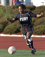 New York Fury forward Jasmyne Spencer (3) dribbles down the wing. In a Women's Premier Soccer League Elite (WPSL) match, the Boston Breakers defeated New York Fury, 2-0, at Dilboy Stadium on June 23, 2012.