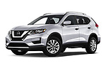 Stock pictures of low aggressive front three quarter view of 2020 Nissan Rogue S 5 Door SUV Low Aggressive
