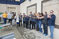 BERKELEY, CA - Feb. 18, 2017: Cal senior class with family on Senior Day.  Cal Men's Swimming and Diving competed against Stanford at Spieker Aquatics Complex.