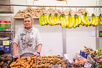 Thursday 02 March 2017<br /> Pictured: Rebecca Upton,, owner of a fruit and veg stall  in the undercover market, Bridgend <br /> Re: Ford expects to cut more than 1,100 jobs from its Bridgend plant by 2021, casting doubt on the future of the Welsh engine facility.
