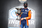 #9: Scott Dixon, Chip Ganassi Racing Honda celebrates on the podium