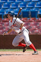 Daniel Lyons #10 of the Potomac Nationals flips his bat at Wake Forest Baseball Park May 10, 2009 in Winston-Salem, North Carolina. (Photo by Brian Westerholt / Four Seam Images)