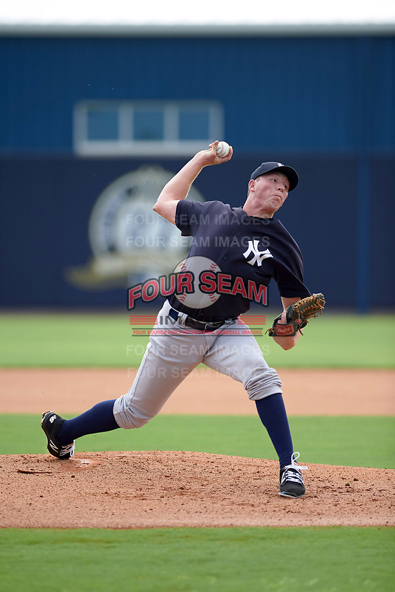 GCL Yankees West starting pitcher Matt Sauer (60) delivers a pitch during the first game of a doubleheader against the GCL Yankees East on July 19, 2017 at the Yankees Minor League Complex in Tampa, Florida.  GCL Yankees West defeated the GCL Yankees East 11-2.  (Mike Janes/Four Seam Images)