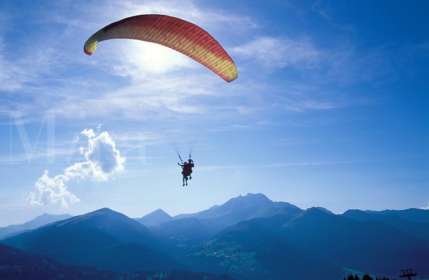 Tandem paragliding at Morzine, Haute-Savoie, Alps, France