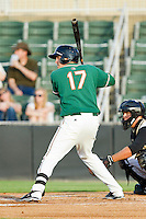 Matt Juengel (17) of the Greensboro Grasshoppers at bat against the Kannapolis Intimidators at CMC-Northeast Stadium on July 12, 2013 in Kannapolis, North Carolina.  The Grasshoppers defeated the Intimidators 2-1.   (Brian Westerholt/Four Seam Images)