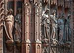 France, Alsace, Department Bas-Rhin, Strasbourg: Strasbourg Cathedral - statues from the Northern Portal of the West facade | Frankreich, Elsass, Départements Bas-Rhin, Strassburg: Strassbuerger Muenster - Hochgotische Gewaendefiguren am Noerdlichen Portal der Westfassade