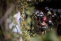 Women's race start up the infamous (and steep) Koppenberg cobbles<br /> <br /> Koppenbergcross / Belgium 2017