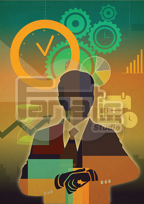 Illustrative image of businessman with clock representing time management