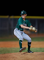 Venice Indians pitcher Huston Wynne (24) during a game against the Braden River Pirates on February 25, 2021 at Braden River High School in Bradenton, Florida.  (Mike Janes/Four Seam Images)