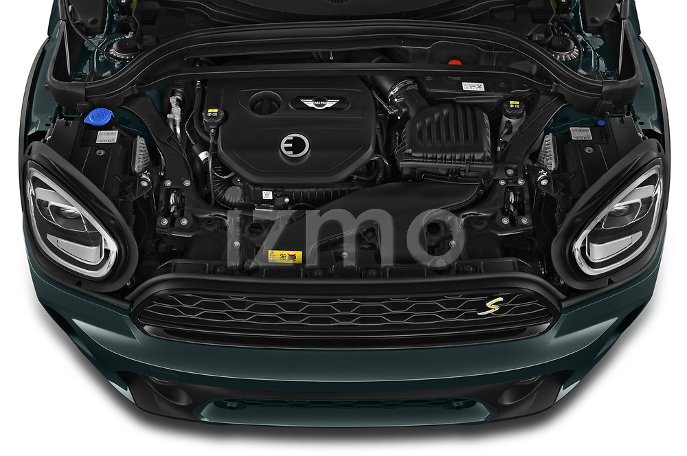 Car Stock 2021 MINI Countryman SE-PHEV 5 Door SUV Engine  high angle detail view