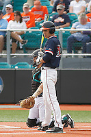 University of Virginia Cavaliers outfielder Cameron Simmons (20) at bat during a game against the University of Coastal Carolina Chanticleers at Springs Brooks Stadium on February 21, 2016 in Conway, South Carolina. Coastal Carolina defeated Virginia 5-4. (Robert Gurganus/Four Seam Images)