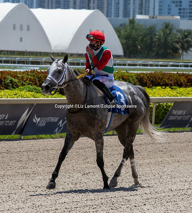 March 27, 2021: #3 Sweet Bye and Bye, ridden by jockey Irad Ortiz Jr., wins the Sand Springs Stakes on Florida Derby Day at Gulfstream Park in Hallandale Beach, Florida. Liz Lamont/Eclipse Sportswire/CSM