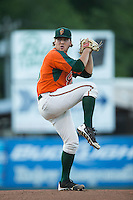 Greensboro Grasshoppers starting pitcher Michael Mader (15) in action against the Kannapolis Intimidators at CMC-Northeast Stadium on June 11, 2015 in Kannapolis, North Carolina.  The Intimidators defeated the Grasshoppers 7-6.  (Brian Westerholt/Four Seam Images)