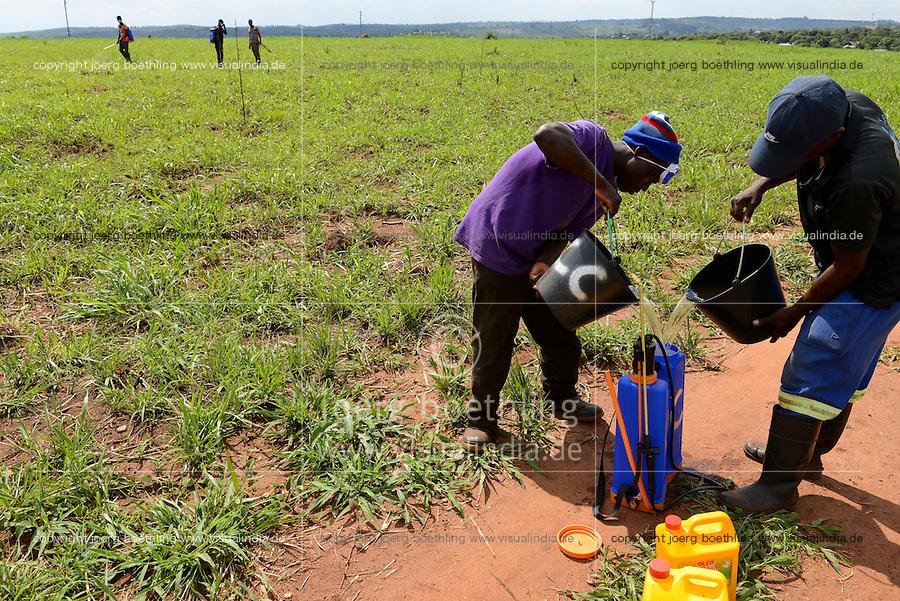 MOZAMBIQUE, Gondolo, BAGC Beira agricultural growth corridor, farm worker spray pesticides in farm / MOSAMBIK, Gondolo, BAGC Beira agricultural growth corridor, Landarbeiter verspruehen Pestizide auf einem Feld