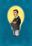 Illustrative image of businessman with arms crossed in light bulb representing business innovation