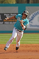 Rico Noel #1 of the Coastal Carolina University Chanticleers running in a game against the University of Michigan Wolverines at the Carvelle Resort Classic Tournament held at Watson Stadium at Vrooman Field in Conway,, SC on March 13, 2010. Photo by Robert Gurganus/Four Seam Images