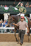 "October 05, 2014:  Don't Tell Sophia and jockey Joseph Rocco Jr win the 59th running of The Juddmonte Spinster Grade 1 $500,000 ""Win and You're In Ladies' Classic Division"" for owner Jerry Namy and owner/Trainer Philip A. Sims .  Candice Chavez/ESW/CSM"