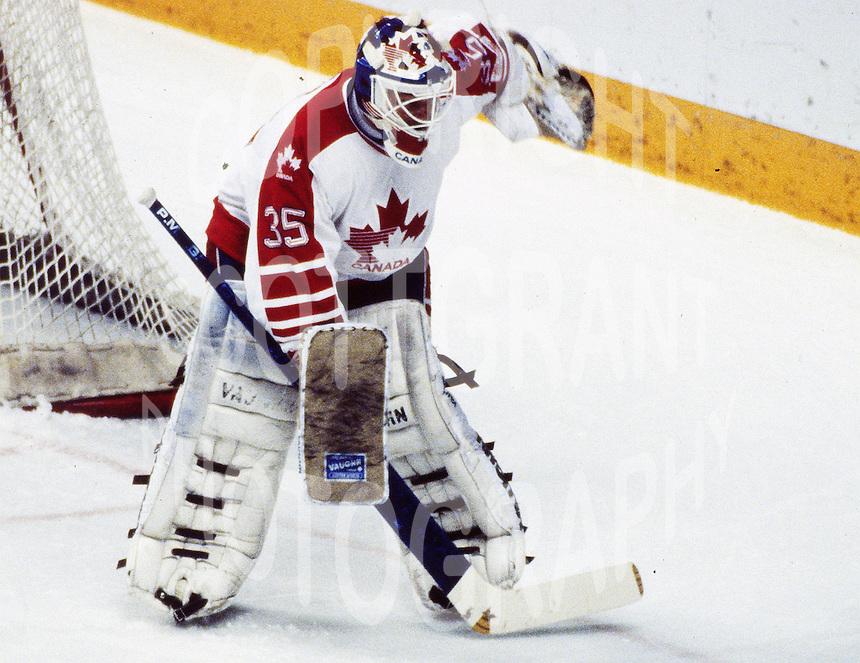 Andy Moog Team Canada 1988. Photo copyright F. Scott Grant