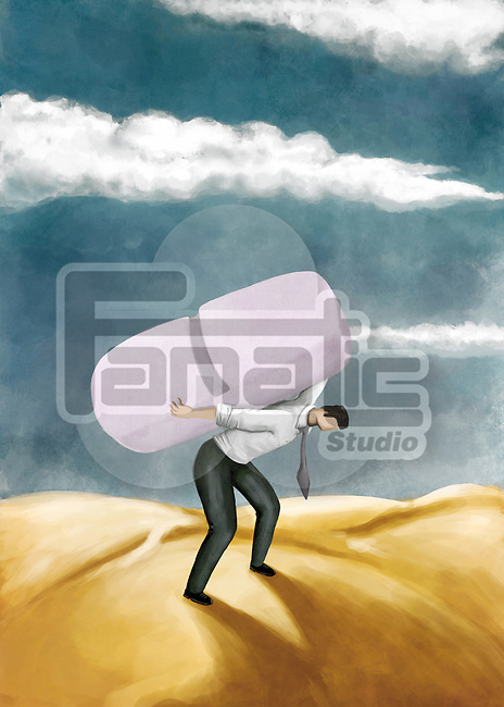 Illustrative image of man carrying huge tablet on back representing medical cost