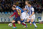 Real Sociedad's Mikel Gonzalez (c-l), David Zurutuza (c-r) and Jon Gaztanaga (r) and FC Barcelona's Leo Messi (l) during La Copa match.February 12,2014. (ALTERPHOTOS/Mikel)