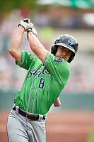Gwinnett Stripers catcher Rob Brantly (8) on deck during a game against the Columbus Clippers on May 17, 2018 at Huntington Park in Columbus, Ohio.  Gwinnett defeated Columbus 6-0.  (Mike Janes/Four Seam Images)