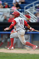 Williamsport Crosscutters shortstop Emmanuel Marrero (18) at bat during a game against the Batavia Muckdogs on July 27, 2014 at Dwyer Stadium in Batavia, New York.  Batavia defeated Williamsport 6-5.  (Mike Janes/Four Seam Images)