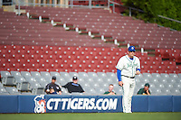 Hartford Yard Goats manager Darin Everson (41) in the third base coaches box during the first game of a doubleheader against the Trenton Thunder on June 1, 2016 at Sen. Thomas J. Dodd Memorial Stadium in Norwich, Connecticut.  Trenton defeated Hartford 4-2.  (Mike Janes/Four Seam Images)